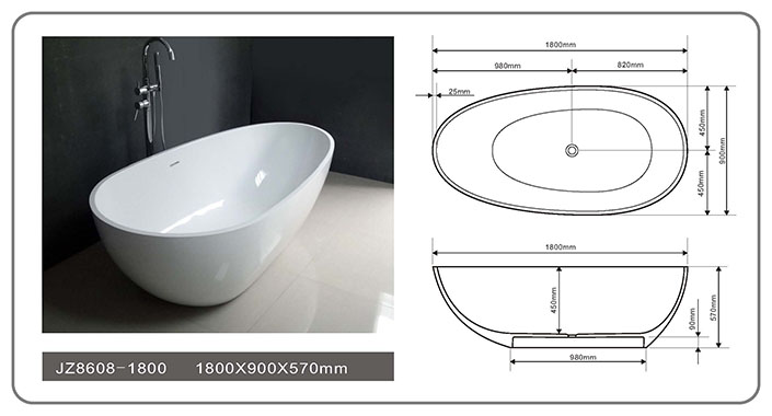 59/63/67/71 Inch Modern Solid Surface Freestanding Bathtub JZ8608