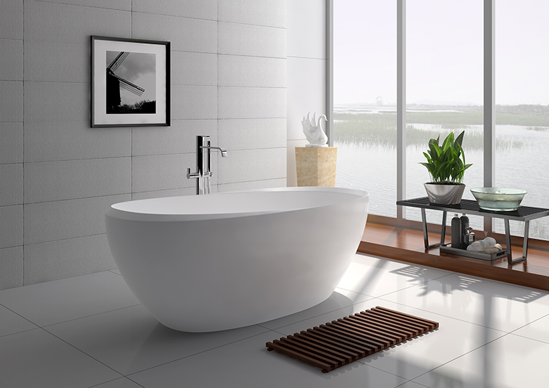 75 Inch Luxury Oval Solid Surface Long Lasting Freestanding Bathtub JZ8639