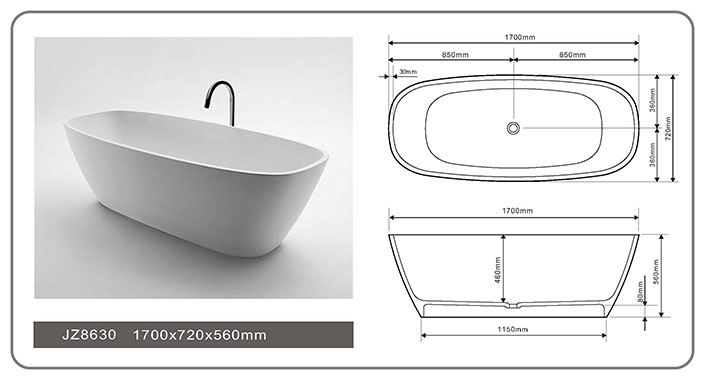 67 Inch Long Oval Standing Alone Solid Surface Freestanding  Bathtub JZ8630